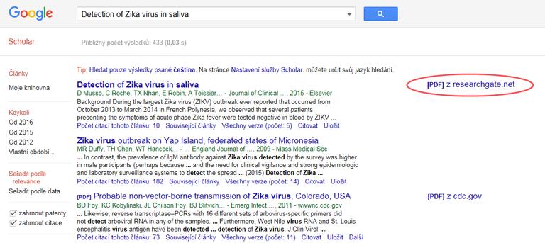 Ukázka odkazu do ResearchGate z Google Scholar